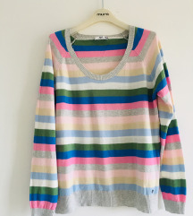 Šareni prugasti lagani pulover vel L