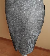 %Srebrna šljokičasta wrap nova suknja vel.34/36