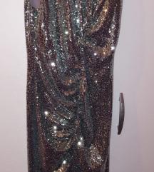 Midi sljokicasta haljina sa izrezom