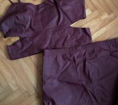 Bordo komplet crop top i suknja pencil