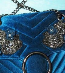 Nova Orsay plava baršunasta torba s perlicama