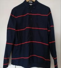 H&M tamnoplava košulja na crvene pruge