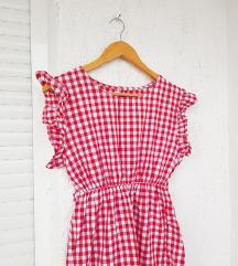 Crvena gingham haljina s volanima kratkih rukava