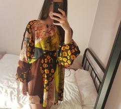Zara patchwork haljina dugih rukava