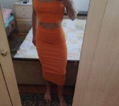 novi narancasti komplet suknja + top