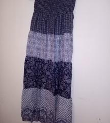 Plava boho suknja