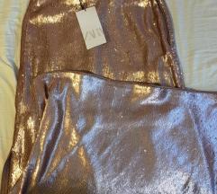 Zara rose gold sljokicava suknja nova