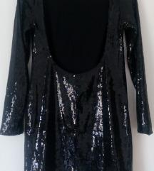 Crna sjajna mini haljina M