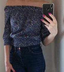 %%H&M crop bluza na cvjetove, off shoulder