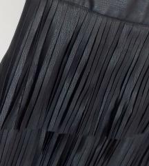 Mini kožna suknja s resama | Reserved