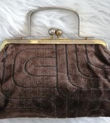 Vintage baršun smeđa ručna torbica