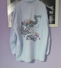 Zara duga košulja zmaj print xs plava