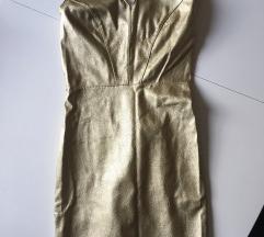 Zlatna kožna haljina