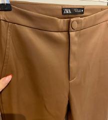 Zara smeđe kožne hlače, S