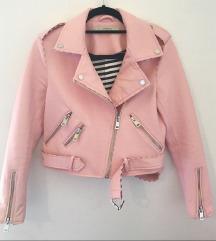 Zara roza, kožna, biker jakna