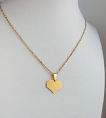 Rez.Ogrlica srce (pozlaćeni kirurški čelik)
