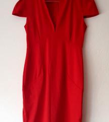 Ženska elegantna pencil koktel crvena haljina