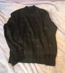Pull and bear zelena karirana sweatshirt majica M