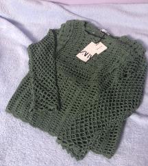 Zara plavi pleteni pulover M 38