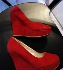 Crvene wedges cipele od velura