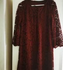 Zara bordo čipkasta haljina