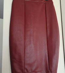 Kožna bordo pencil suknja