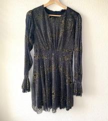 Zara večernja haljina u crnoj i zlatnoj boji