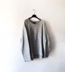 Oversize sivi pulover New Yorker
