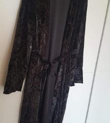 Crni baršunasti mantil na vezanje L-XL