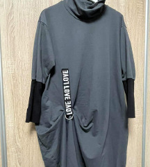 Asimetrična siva haljina s džepovima