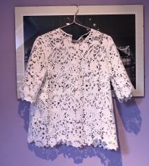 Zara bijela izvezena bluza čipkasta XS 34