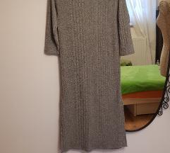 Nova Mango siva rebrasta haljina ravnog kroja