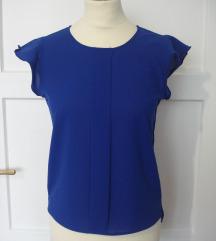 plava bluza top s volanima