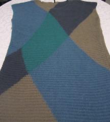 BENETTON plavo-sivo-zelena pletena haljina