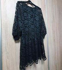 H&M crna čipkasta haljina L-XL