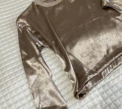 Zlatna svilena majica s pamucnim rubovima