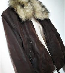 Kratka kožna jakna s krznom XS/S