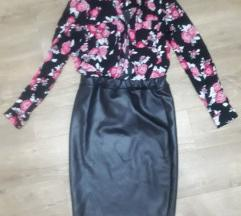 Kosulja i kozna uska suknja