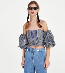 Zara Off shoulder plaid top XS