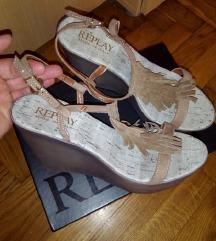 REPLAY wedge kožne sandale