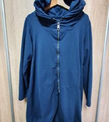 Plavi pamučni kardigan sa zipom i kapuljačom
