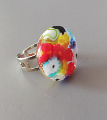 Murano okrugli flower prsten