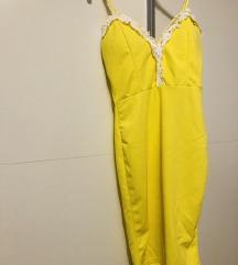 Limun žuta uska haljina kao nova