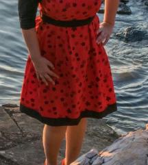 Crvena cvjetna haljina XL