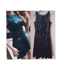 Velvet skater haljine - crna i tirkizna obje 69kn