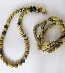 Ogrlica i narukvica od serpentinita i srebra