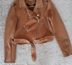 Smeđa biker jakna