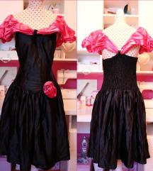 80s crno-roza Vintage haljina sa ružicom