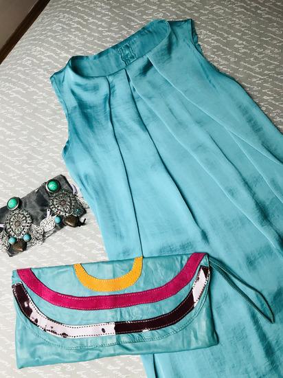 LOT haljina+naušnice+torbica /UNIKAT S