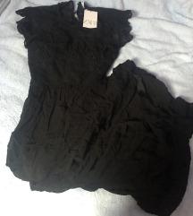Zara maxi crna izvezena boho haljina XS
